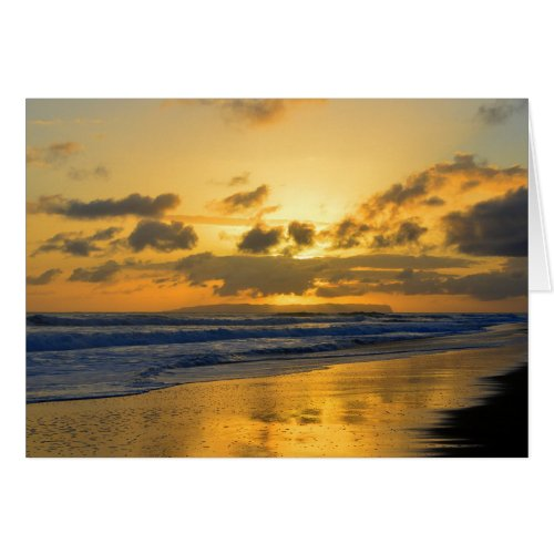 Kauai Beach Sunset, Niihau on the Horizon Greeting Cards