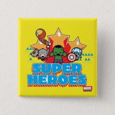 Kawaii Avenger Super Heroes Graphic Pinback Button