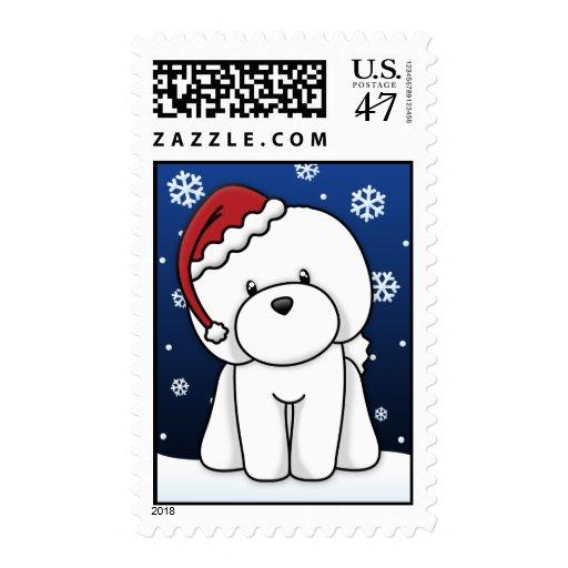 Kawaii Bichon Frise Christmas Stamps Zazzle