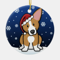 Kawaii Cartoon Pembroke Welsh Corgi Christmas Ornament