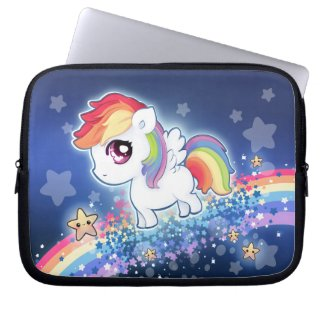 Kawaii cute rainbow pony with star galaxy laptop sleeves
