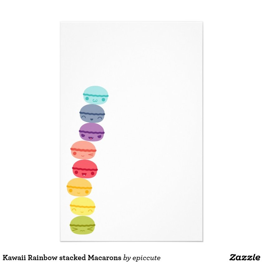 Kawaii Rainbow stacked Macarons stationery