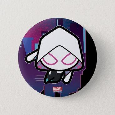 Kawaii Spider-Gwen City Skyline Pinback Button