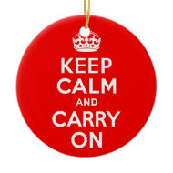 Keep Calm and Carry On Red Christmas Ornaments