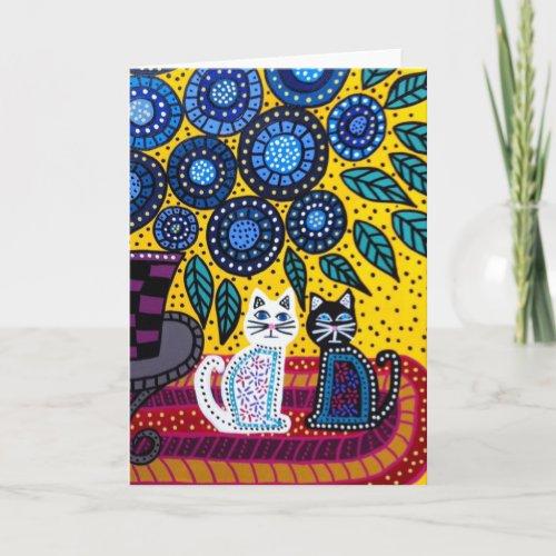 Kerri Ambrosino Art Card Cats Flowers Friends