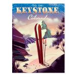 Keystone, Colorado Ski vintage style poster. Postcard