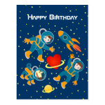 Kids Astronauts Love Space Travel Happy Birthday Postcard