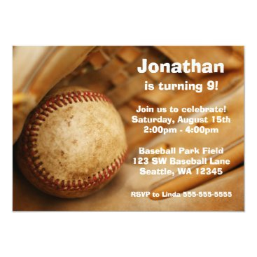 Kids Baseball Birthday Party Invitations