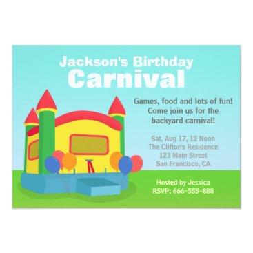 Kids Birthday Party - Happy Backyard Carnival Invitation
