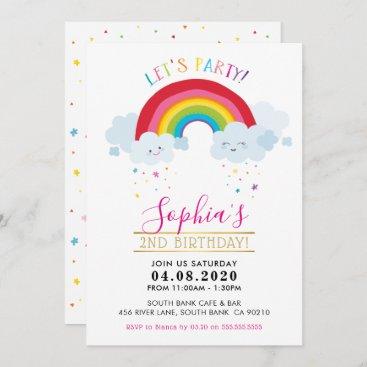 KIDS BIRTHDAY PARTY INVITE kawaii rainbow clouds