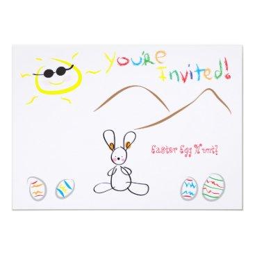 Kids Drawing Easter Egg Hunt Card
