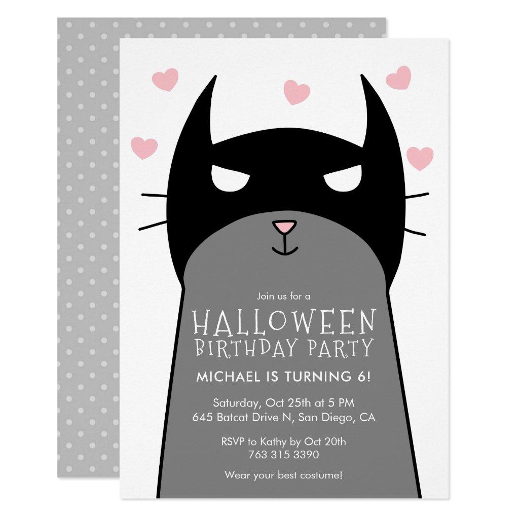 Kids Halloween Birthday Party Invitation | Bat Cat