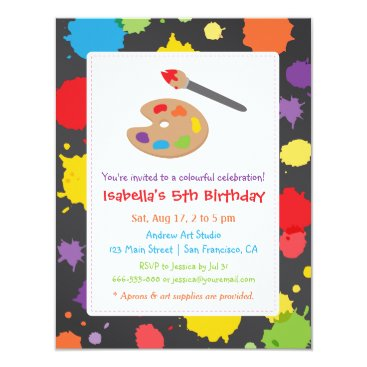 Kids Painting Splats Paint Party Invitations