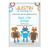 Kids Robot Birthday Party Invitations