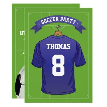 Kids Soccer Birthday Party | Blue Jersey Invitation