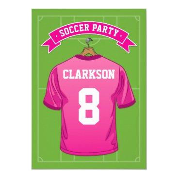 Kids Soccer Birthday Party | Girl Pink Jersey Invitation
