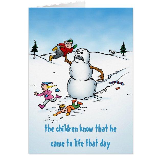 Killer Snowman Funny Cartoon Holiday Card Zazzle
