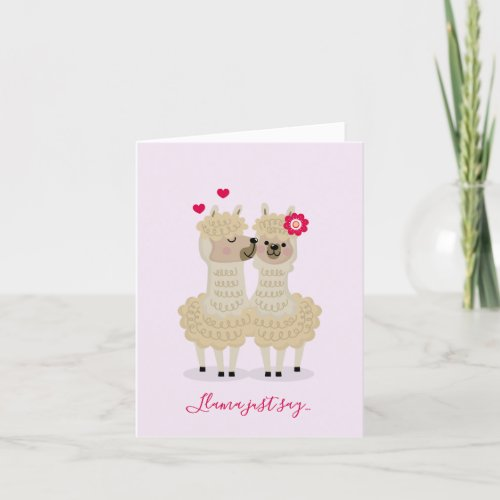 Kissing Llamas Valentine's Day Cards