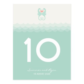 Kissing Seahorses Hearts Beach Summer Table Number Post Cards