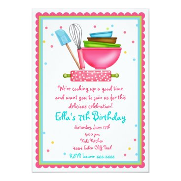 Kitchen Cooking Birthday Invitations