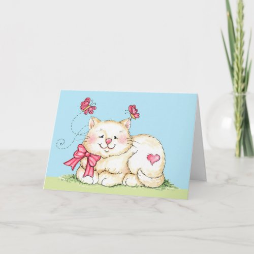 Kitten with Heart Holiday Card