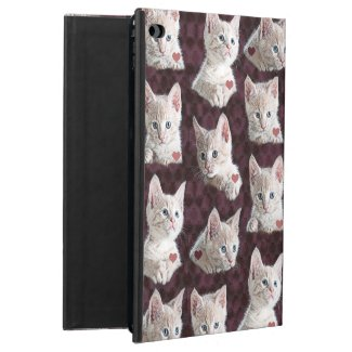 Kitty Cat Faces Pattern With Hearts Image Powis iPad Air 2 Case
