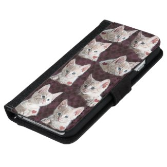 Kitty Cat Faces Pattern With Hearts Image iPhone 6 Wallet Case