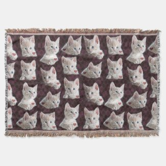 Kitty Cat Faces Pattern With Hearts Image Throw