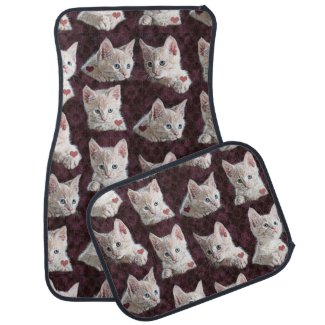 Kitty Cat Faces Pattern With Hearts Image Floor Mat