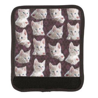 Kitty Cat Faces Pattern With Hearts Image Luggage Handle Wrap