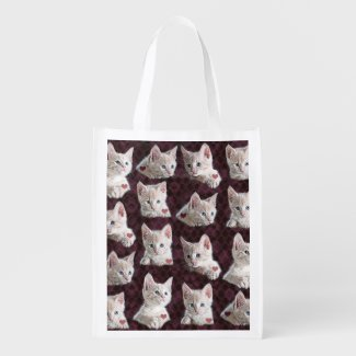 Kitty Cat Faces Pattern With Hearts Image Reusable Grocery Bags