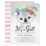 Koala Girl Baby Shower Invitation
