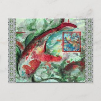 Koi Carp Fish Painting Post Card