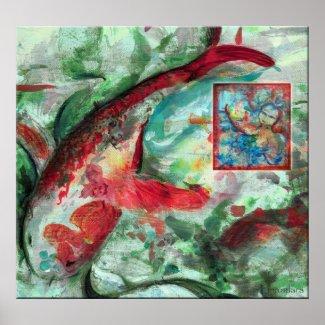 Koi Carp Fish Painting print