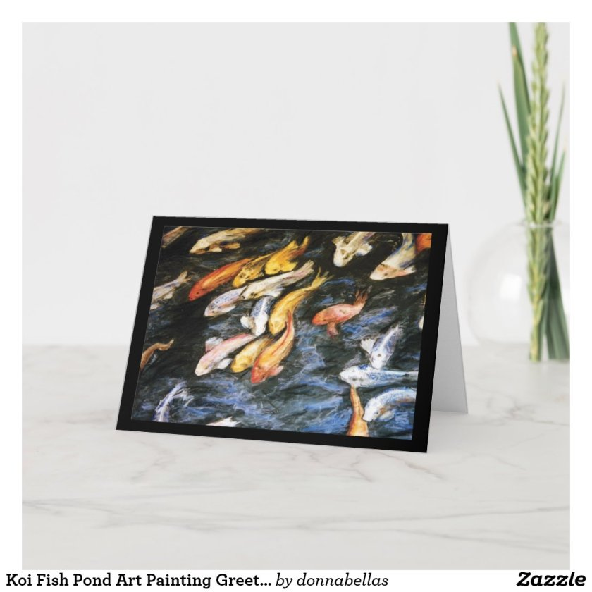 Koi Fish Pond Art Painting Greeting or Note Cards
