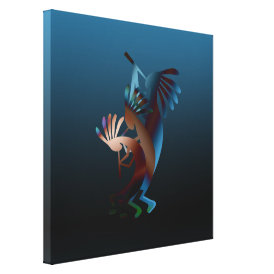 Kokopelli Gets Down Wrapped Canvas Print