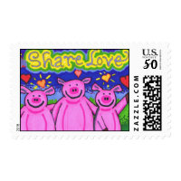Kooky Friends Pig Postage Stamps