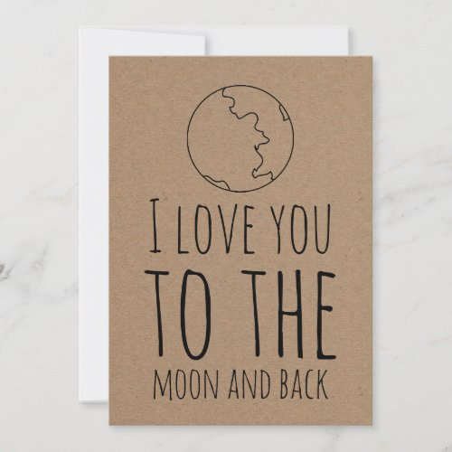 Kraft Paper Cute Moon Funny Valentines Day Holiday Card