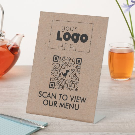 Kraft QR Code No Contact Scan for Menu Table Signs