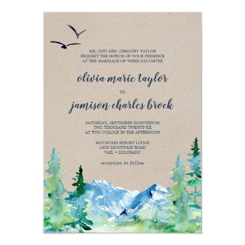 Kraft Rocky Mountain Formal Destination Wedding Invitation
