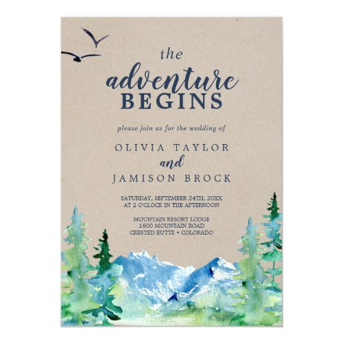 Kraft Rocky Mountain The Adventure Begins Wedding Invitation