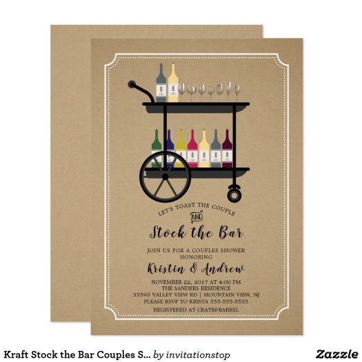 Kraft Stock the Bar Couples Shower Invitation
