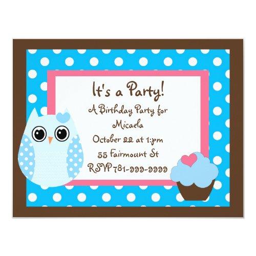 KRW Brown & Blue Polka Dot Owl Birthday Invitation