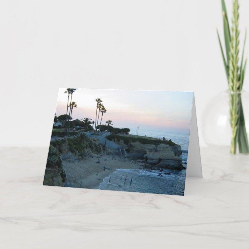 La Jolla Cove Beach Sunset Custom Greeting Cards
