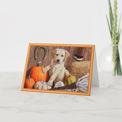 Labrador Retriever Puppy and Pumpkins Holiday Card