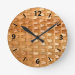 Lacquer Wicker Basketweave Texture Look Round Clock