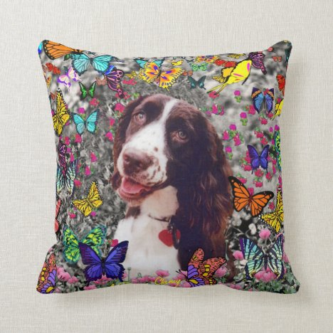 Lady in Butterflies  - Brittany Spaniel Dog Throw Pillow