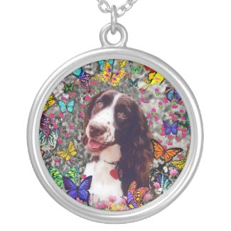 Lady in Butterflies - Brittany Spaniel necklace