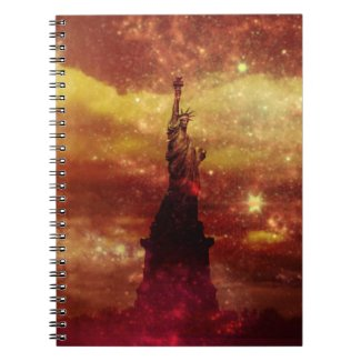 Lady Liberty red and yellow stars Spiral Notebook