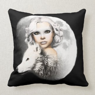 Lady of the Moon Throw Pillows
